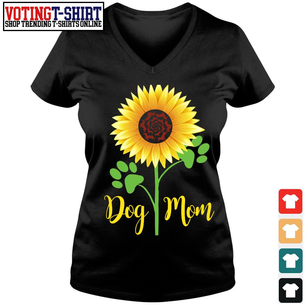 Sunflower dog mom s V-neck t-shirt