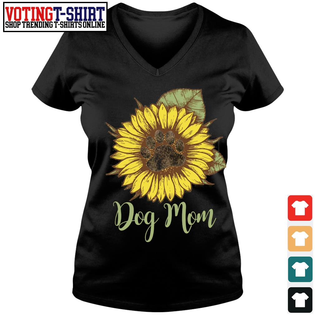 Sunflower paw dog mom s V-neck t-shirt