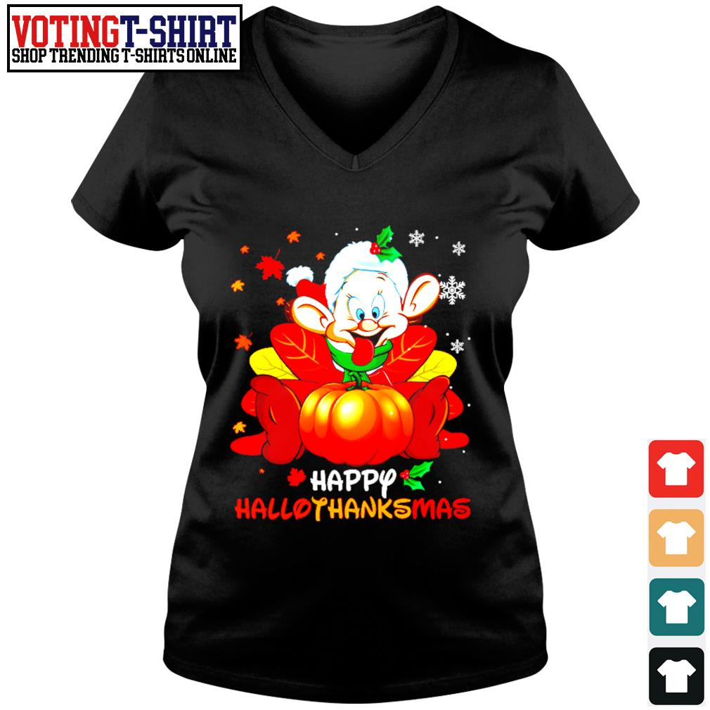 Dopey Happy Hallothanksmas s V-neck t-shirt