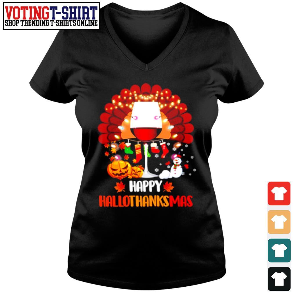 Wine Turkey Happy Hallothanksmas s V-neck t-shirt