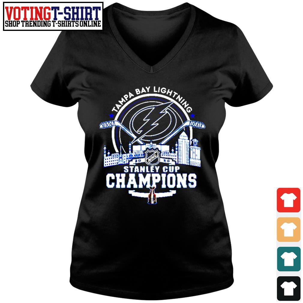 Tampa Bay Lightning 2002 NHL stanley cup champions s V-neck t-shirt