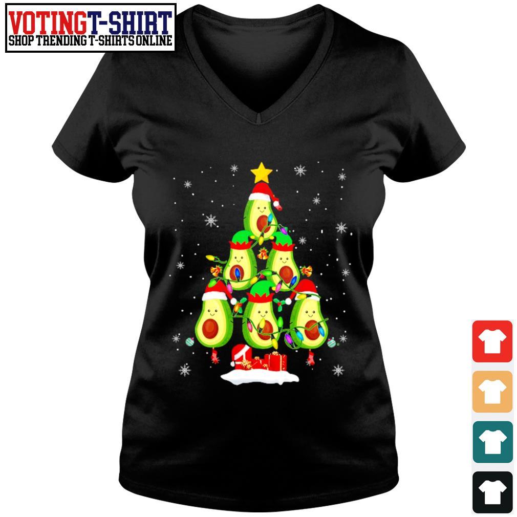Avocado Christmas tree Santa Elf Avocado lover Christmas s V-neck t-shirt