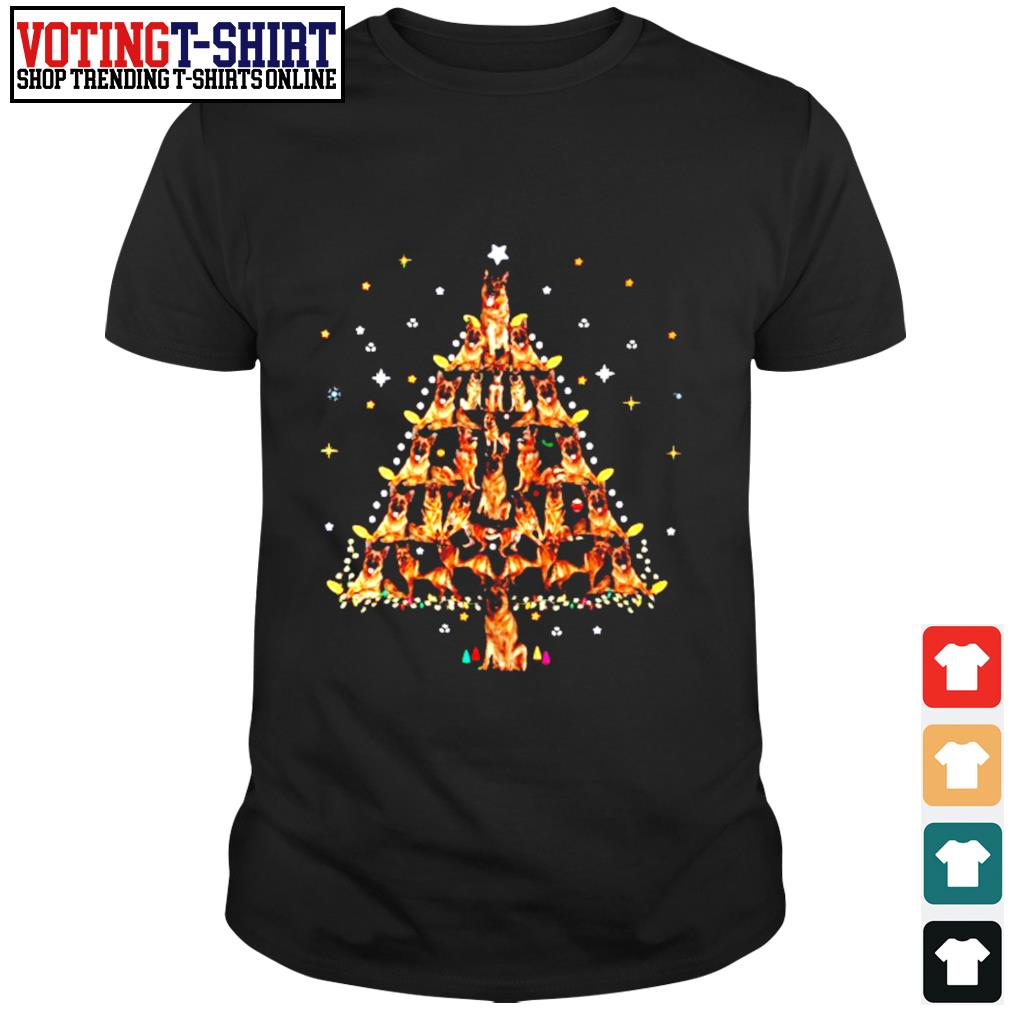 German Shepherd lights Christmas tree shirt